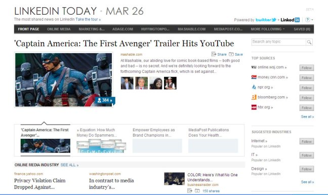 LinkedIn-Today - personalised news site